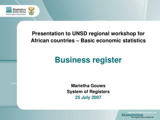 Presentation to UNSD regional workshop for African countries – Basic economic statistics