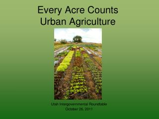 Every Acre Counts Urban Agriculture