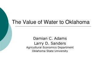 The Value of Water to Oklahoma
