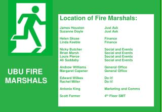 Location of Fire Marshals: James Houston 		Just Ask  Suzanne Doyle 		Just Ask Helen Skuse		Finance
