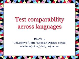 Test comparability across languages