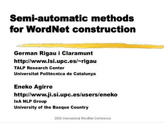 Semi-automatic methods for WordNet construction