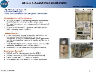 DECLIC ALI NASA/CNES Collaboration