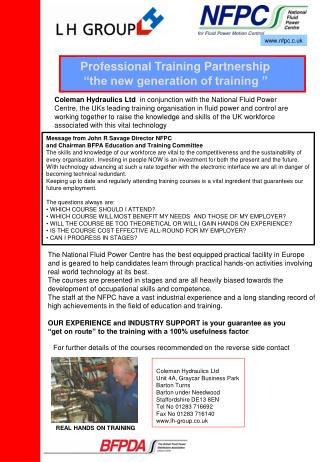 "Professional Training Partnership  ""the new generation of training """