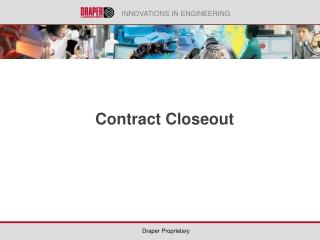 Contract Closeout