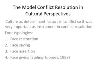 The Model Conflict Resolution in Cultural Perspectives