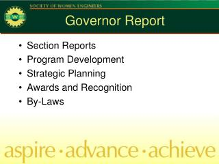 Governor Report