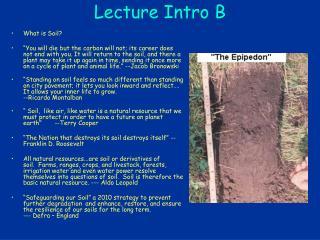 Lecture Intro B