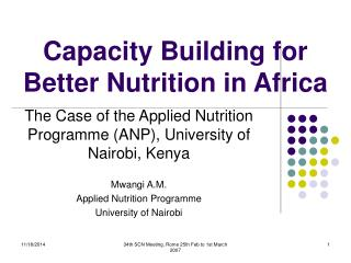 Capacity Building for Better Nutrition in Africa
