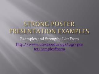 Strong Poster Presentation Examples