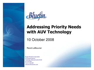 Addressing Priority Needs with AUV Technology