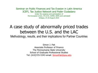 Seminar on Public Finances and Tax Evasion in Latin America