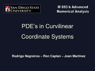 PDE�s in Curvilinear Coordinate Systems