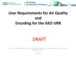 User Requirements for Air Quality and Encoding for the GEO URR