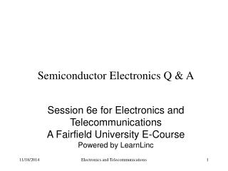 Semiconductor Electronics Q & A