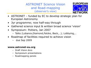 ASTRONET Science Vision and Road-mapping (observer's view)
