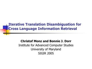 Iterative Translation Disambiguation for Cross Language Information Retrieval