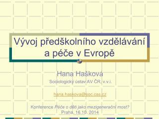 Vývoj předškolního vzdělávání a péče v Evropě