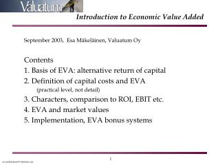 Introduction to Economic Value Added