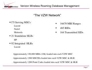 Verizon Wireless Roaming Database Management