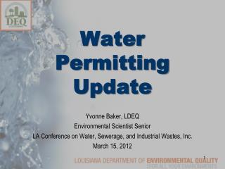 Water  Permitting Update