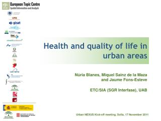 Health and quality of life in urban areas