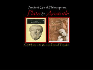 Ancient Greek Philosophers Plato  &  Aristotle