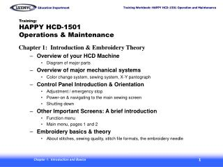 Training: HAPPY HCD-1501 Operations  Maintenance