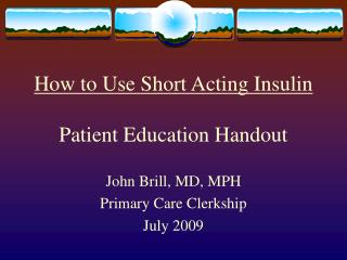 How to Use Short Acting Insulin  Patient Education Handout