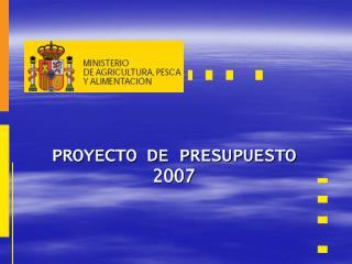 PROYECTO DE PRESUPUESTO 2007