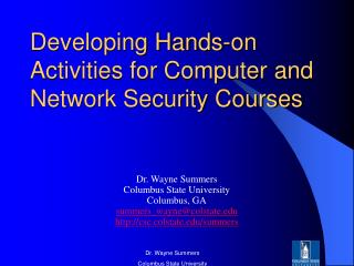 Developing Hands-on Activities for Computer and Network Security Courses