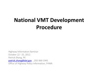National VMT Development Procedure