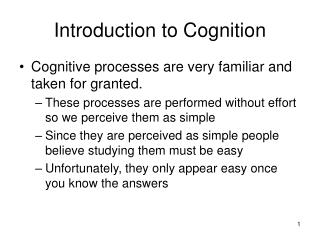 Introduction to Cognition