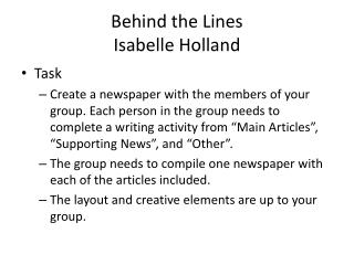 Behind the Lines Isabelle Holland