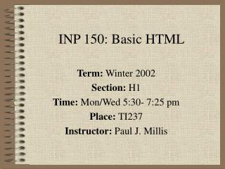 INP 150: Basic HTML