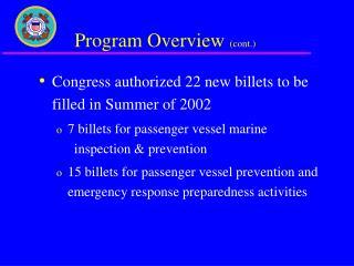 Program Overview  (cont.)