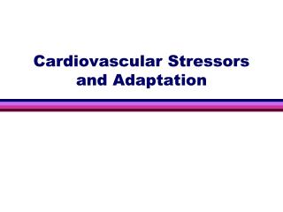 Cardiovascular Stressors and Adaptation
