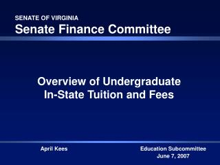 SENATE OF VIRGINIA Senate Finance Committee