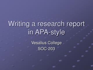 Writing a research report in APA-style