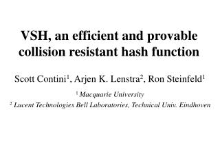 VSH, an efficient and provable collision resistant hash function