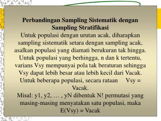 Perbandingan Sampling Sistematik dengan Sampling Stratifikasi