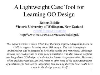 A Lightweight Case Tool for Learning OO Design