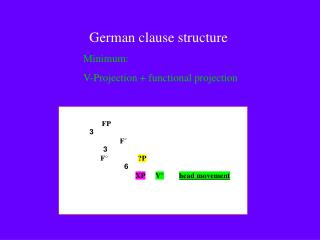 German clause structure 	Minimum: 	V-Projection + functional projection