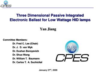 Three Dimensional Passive Integrated Electronic Ballast for Low Wattage HID lamps