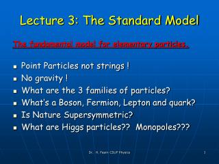 Lecture 3: The Standard Model