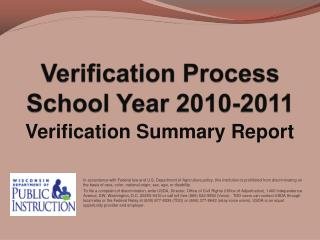 Verification Process School Year 2010-2011