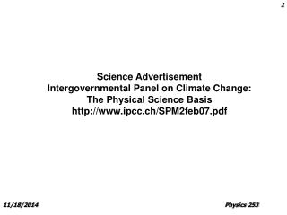 Science Advertisement Intergovernmental Panel on Climate Change: The Physical Science Basis