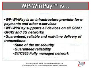 WP-WiriPay is an infrastructure provider for e-payments and other e-services