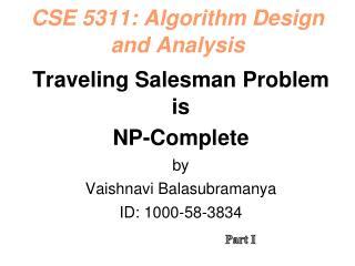 CSE 5311: Algorithm Design and Analysis