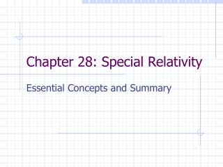 Chapter 28: Special Relativity